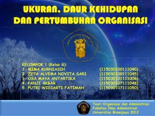 Teori Organisasi dan Administrasi Fakultas Ilmu Administrasi Universitas Brawijaya 2012
