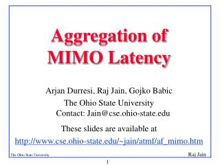 Aggregation of  MIMO Latency