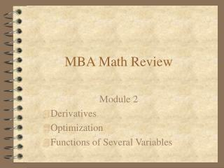 MBA Math Review