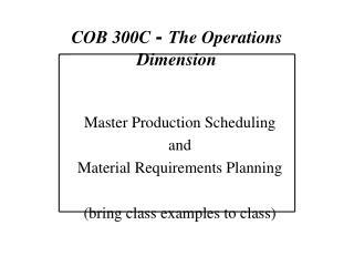 COB 300C  -  The Operations Dimension