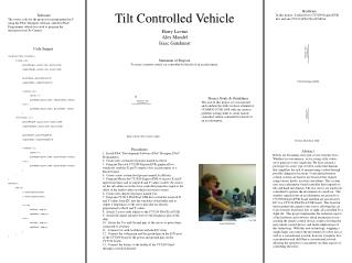 Tilt Controlled Vehicle