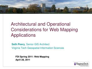 Architectural and Operational Considerations for Web Mapping Applications