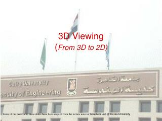 3D Viewing ( From 3D to 2D)