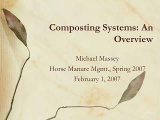 Composting Systems: An Overview