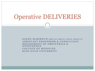 Operative DELIVERIES