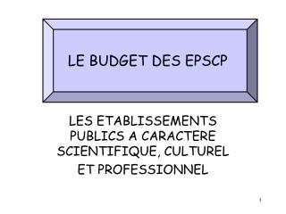 LE BUDGET DES EPSCP