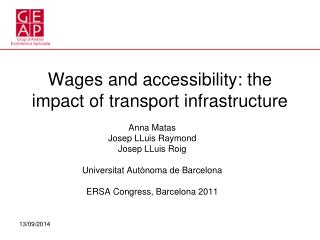 Wages and accessibility: the impact of transport infrastructure