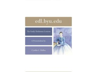 edl.byu The  Emily Dickinson Lexicon  Website