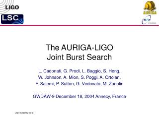 The AURIGA-LIGO Joint Burst Search