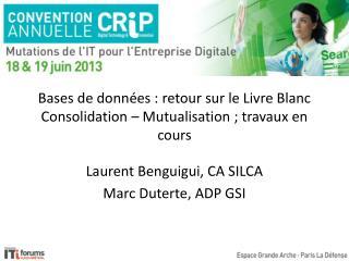 Bases de données : retour sur le Livre Blanc Consolidation – Mutualisation ; travaux en cours