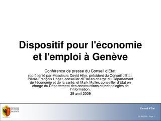 Dispositif pour l'économie et l'emploi à Genève