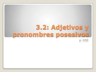 3.2: Adjetivos y pronombres posesivos