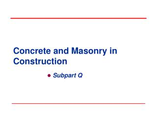 Concrete and Masonry in Construction