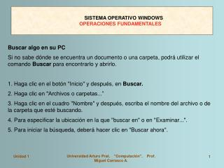 SISTEMA OPERATIVO WINDOWS OPERACIONES FUNDAMENTALES