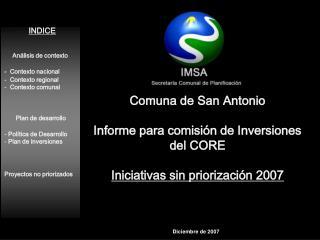 INDICE Análisis de contexto -  Contexto nacional   Contexto regional   Contexto comunal