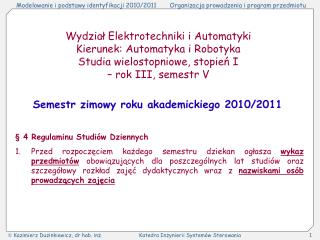 Wydział Elektrotechniki i Automatyki Kierunek: Automatyka i Robotyka