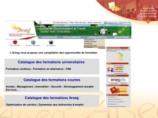 Catalogue des formations universitaires Formation continue ; Formation en alternance ; VAE