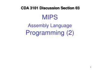 MIPS  Assembly Language  Programming (2)