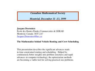 Canadian Mathematical Society Montréal, December 11 -13, 1999
