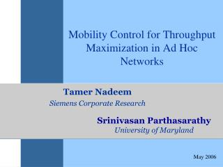 Mobility Control for Throughput Maximization in Ad Hoc Networks