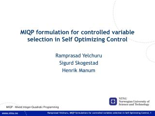 MIQP formulation for controlled variable selection in Self Optimizing Control
