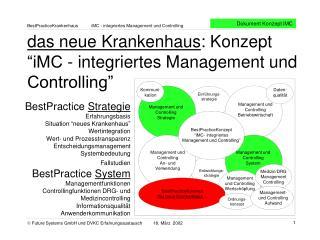 """das neue Krankenhaus : Konzept """"iMC - integriertes Management und Controlling"""""""