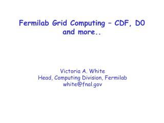 Fermilab Grid Computing – CDF, D0 and more..