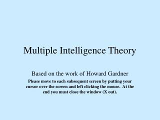 Multiple Intelligence Theory