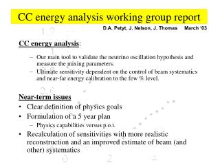 CC energy analysis working group report