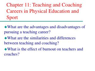 Chapter 11: Teaching and Coaching Careers in Physical Education and Sport