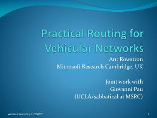 Practical Routing for Vehicular Networks
