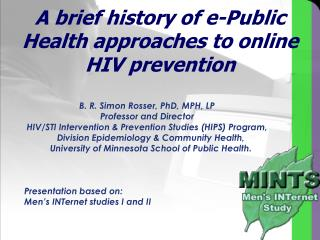 A brief history of e-Public Health approaches to online HIV prevention