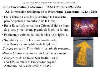 3.1. Dimensión teológica de la Eucaristía (Catecismo, 1213-1284)