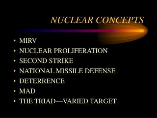 NUCLEAR CONCEPTS