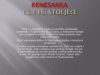 Renesansa 15. i 16. stoljeće