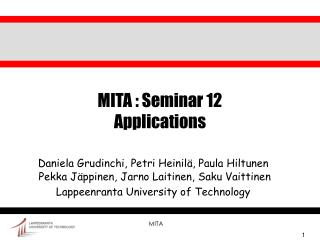 MITA : Seminar 12 Applications
