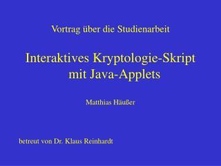 Vortrag über die Studienarbeit