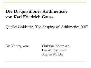 Vortragsteil 1:  Die Herausbildung der Zahlentheorie als Kerngebiet der reinen Mathematik