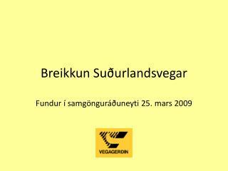 Breikkun Suðurlandsvegar Fundur í samgönguráðuneyti 25. mars 2009