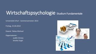 Wirtschaftspsychologie Studium Fundamentale