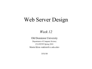 Web Server Design Week 12