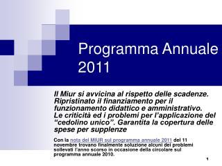 Programma Annuale 2011