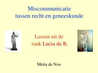 Miscommunicatie  tussen recht en geneeskunde