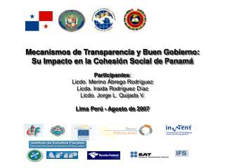 Mecanismos de Transparencia y Buen Gobierno:  Su Impacto en la Cohesión Social de Panamá