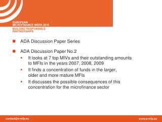 ADA Discussion  Paper Series ADA Discussion Paper No.2