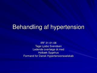 Behandling af hypertension