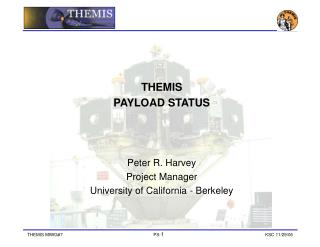 THEMIS PAYLOAD STATUS Peter R. Harvey Project Manager University of California - Berkeley