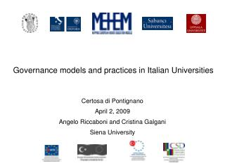 Governance models and practices in Italian Universities