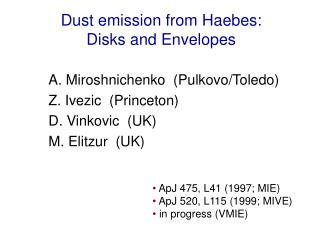Dust emission from Haebes:  Disks and Envelopes