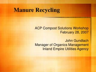 Manure Recycling